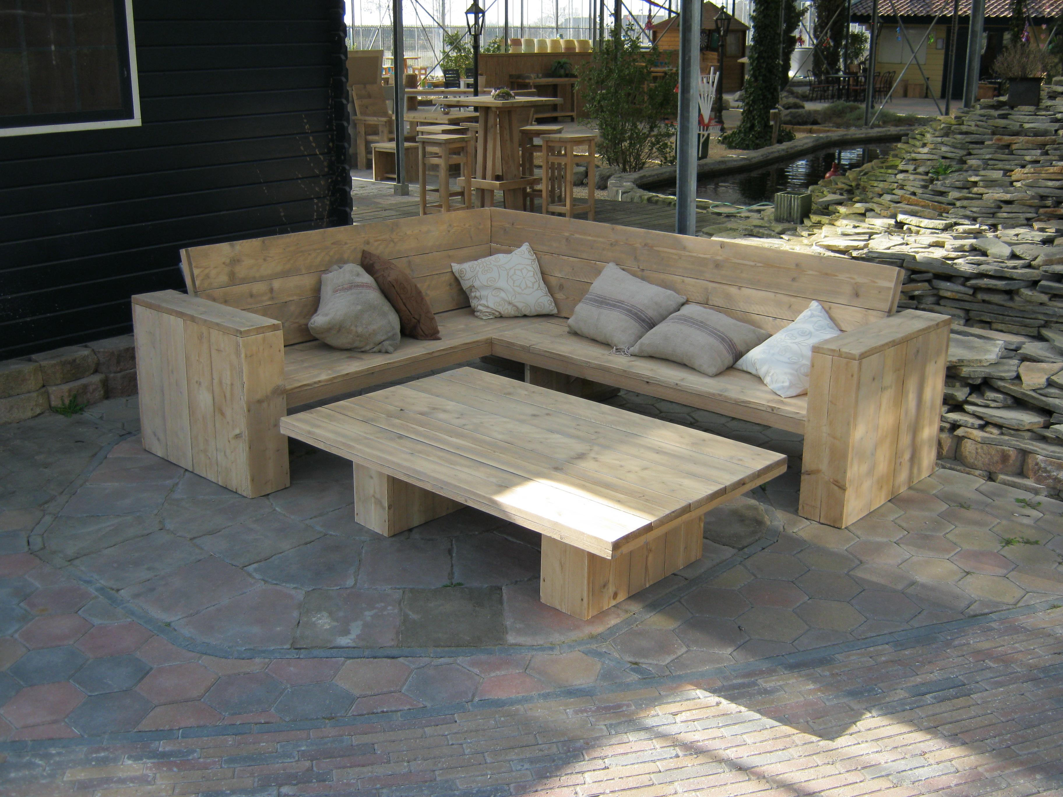 Loungebank steigerhout steigerhouten meubelen rustikal for Loungebank steigerhout