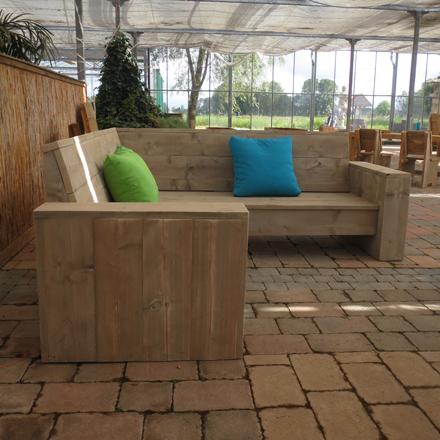 Steigerhouten loungebank 39 lubeck 39 steigerhouten meubelen for Loungebank steigerhout