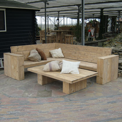 Loungesets en banken steigerhouten meubelen rustikal for Steigerhout loungeset zelf maken