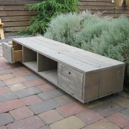 Steigerhout tv meubel 39 selent 39 steigerhouten meubelen for Steigerhout tv meubel maken