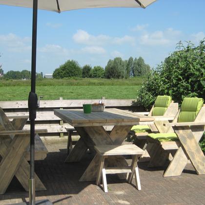 Steigerhout tuinset 39 emden 39 steigerhouten meubelen for Steigerhout tuinset
