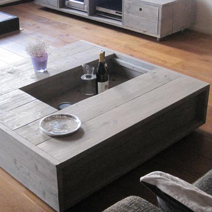 Steigerhout salontafel met opbergvak