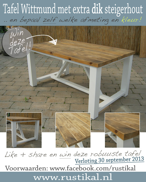 Share + like = win! Steigerhouten tafel