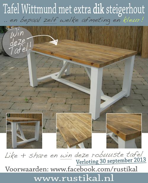 Share + like = win! Steigerhouten tafel