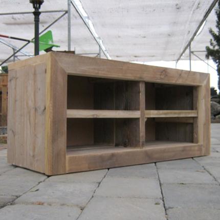 Steigerhout tv meubel 39 ameland 39 steigerhouten meubelen for Steigerhout tv meubel