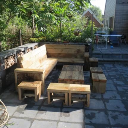 Damwandhout Loungebank 'Damster'